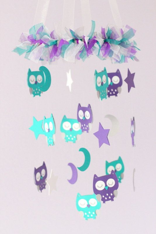 Owl Baby Nursery Mobile in Purple Teal Gray  by LoveBugLullabies