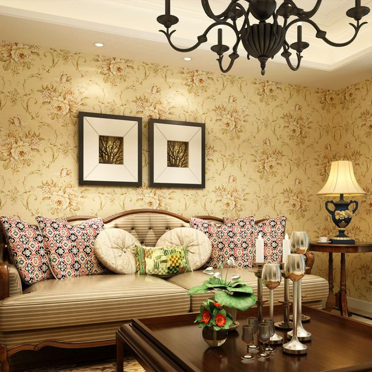 10 Awesome Vintage Wallpaper Designs: 10 Awesome Vintage Wallpaper Designs With Classic Chandelier And Brown Sofa And Wooden Table Decoration