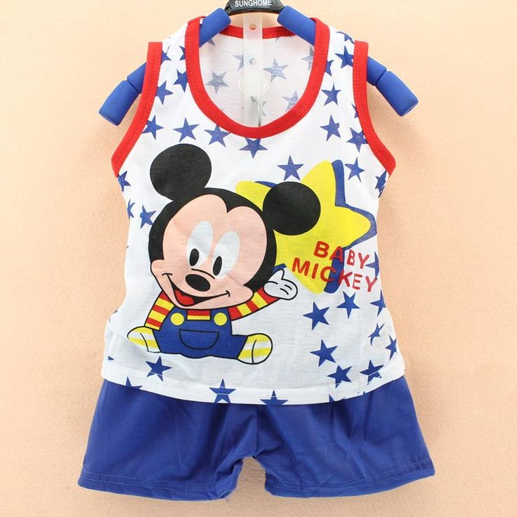 summer boys Kids Clothes suit Mickey sleeveles vest 2pcs toddler boys clothes Sports children Suit, baby Boys Clothing Set
