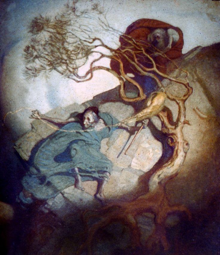 Louhi spins on a hillside, painted by the Finnish artist Gallen-Kallella... Shamanic women n soul retrieval II