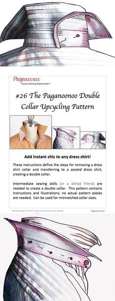 Adding a double collar is an easy upgrade to any dress shirt. Save yourself time and aggravation with these step by step illustrated instructions. Paganoonoo sets you up for success. Upcycle sewing made simple.