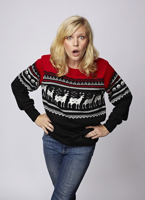 Ashley Jensen models a Christmas jumper for Save the Children's 2012 Christmas Jumper Day. ©Tessa Hallmann