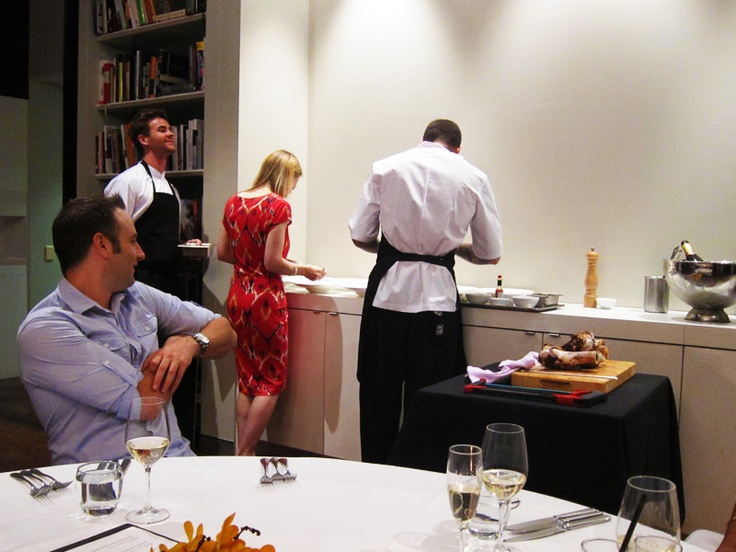 Guests help with the 'plating up'.