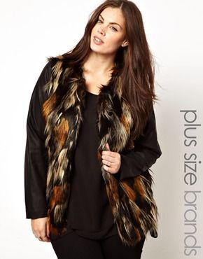 Image 1 of Junarose Fur Coat With Leather Look Sleeve