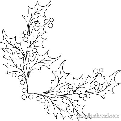 Free Hand Embroidery Pattern: Boughs of Holly