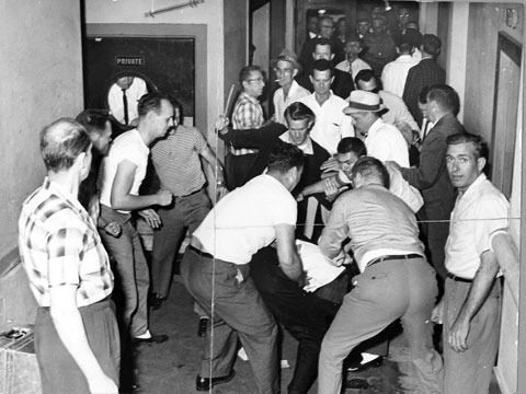 In 1961 A White Mob Of Ku Klux Klan Members Assault Core