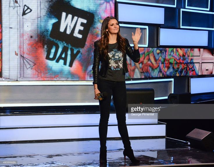 Actress Nina Dobrev speaks at We Day Toronto at the Air Canada Centre on October 1, 2015 in Toronto, Canada.