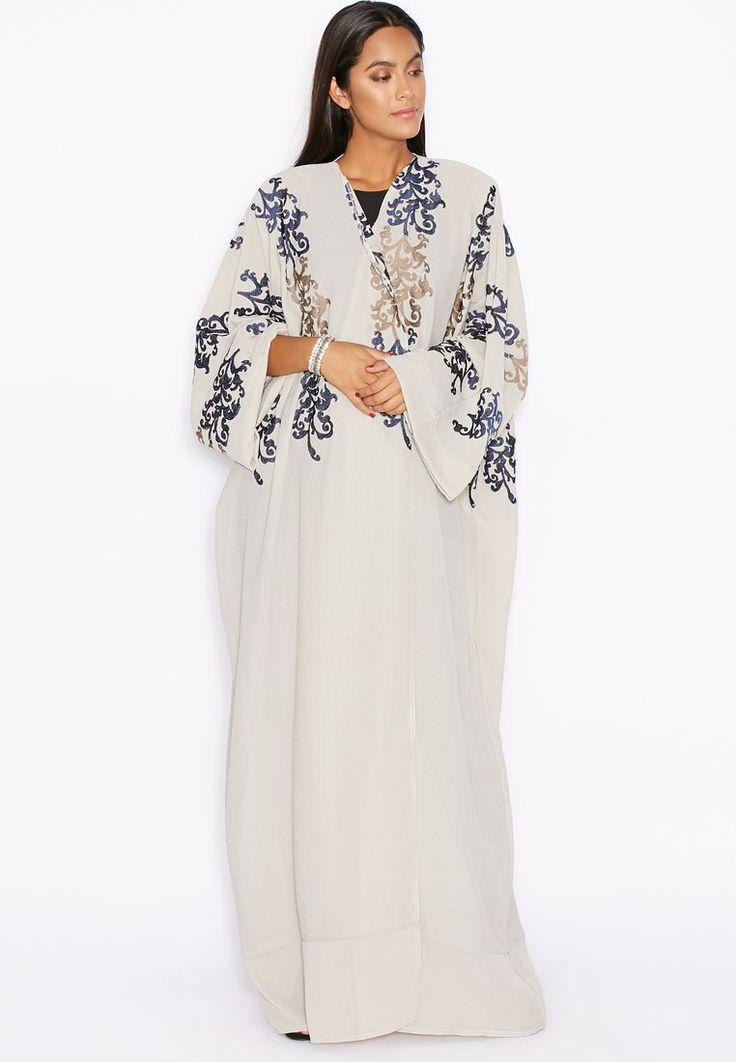 White Abaya with navy and gold details