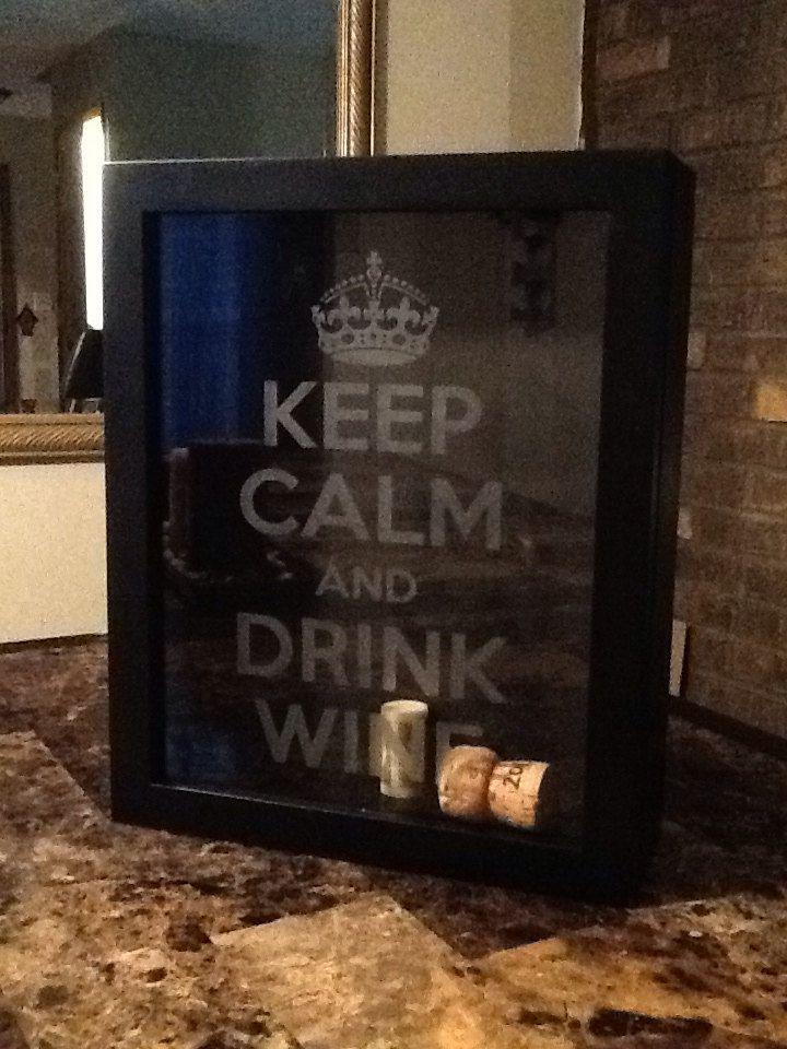 KEEP CALM and Drink Wine Black Shadowbox Cork by croninweddingday, $40.00