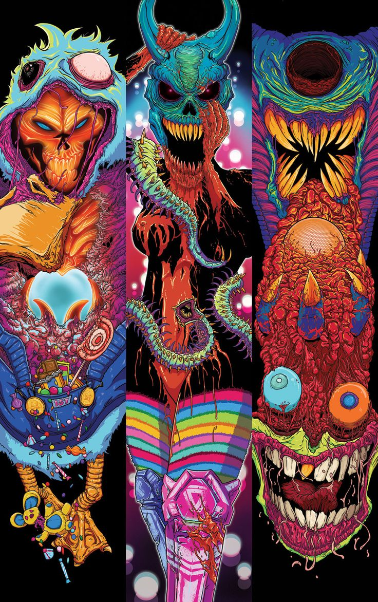 A small series of illustrations combining vibrant colors and monsters