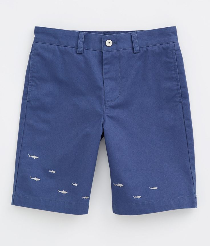 Boys Shorts: Embroidered Shiver of Shark Shorts for Boys sizes 8-18 | Vineyard Vines