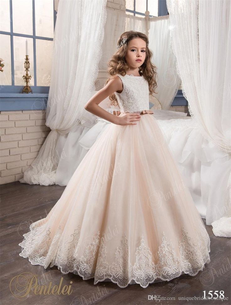 2017 Beautiful Flower Girls Dresses Pentelei With Bling Bling Hem And Bow Sash Appliques Tulle Ball Gown Girls Prom Gowns Custom Made Beautiful Flower Girl Dresses Beautiful Girl Dresses From Uniquebridalboutique, $96.53| Dhgate.Com