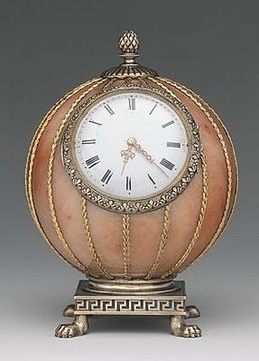 "Fabergé--Spherical Clock--Before 1899--  Workmaster: Mikhail Evlampievich Perkhin (St. Petersburg)--Rose jasper, silver, silver gilt, gold, enamel  glass--The Metropolitan Museum of Art.  Height 3-7/8"""