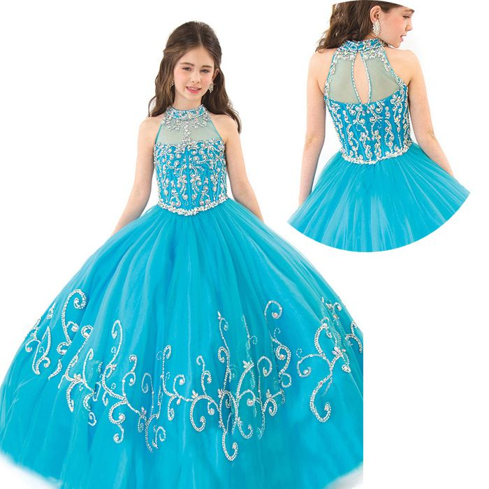 Buy Puffy Kids Beauty Junior Pageant Dresses For Little Girls Toddler Pageant Gowns Blue Flower Girl Dresses Peach Color Party Dress in Cheap Price on m.alibaba.com