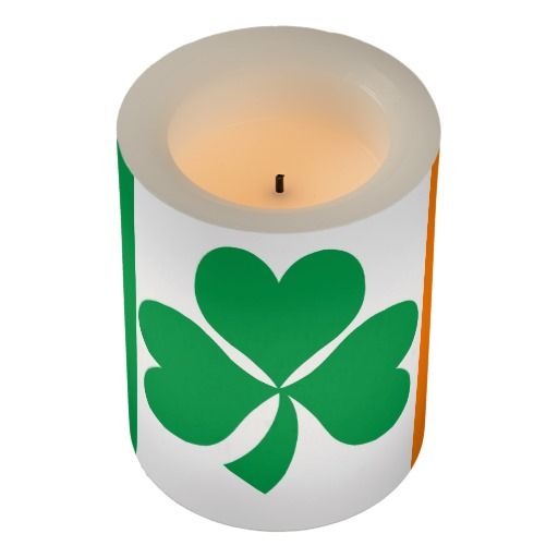 Ireland flag flameless candle. Love the shamrock, a bringer of luck.