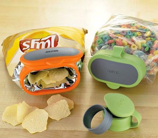 Bag Cap This makes just about any bag a reusable container! Why bother with bulky tupperware when you can just add a lid to your chips, cereal bags, and much more.  freshness! http://www.copco.com/store/site/department.cfm?dc=pw_bagc or amazon
