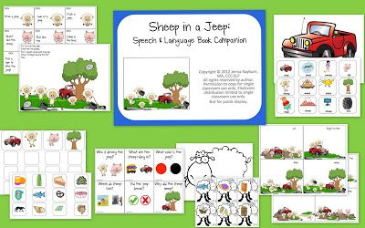 Speech Room News: Sheep In a Jeep Speech and Language-Preschool and Early Elementary-story sequencing, following directions, initial sound sort, rhyming, comprehension, /sh/ articulation. Pinned by SOS Inc. Resources @sostherapy http://pinterest.com/sostherapy.