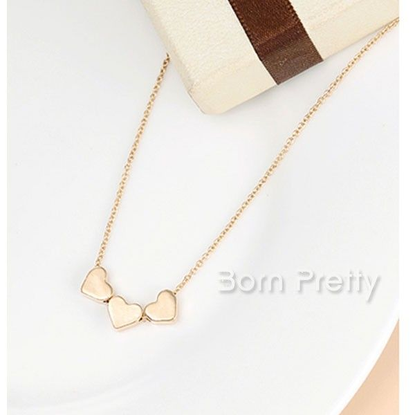 $1.99 Cute Heart Studded Necklace Stunning Gold Plated Necklace - BornPrettyStore.com
