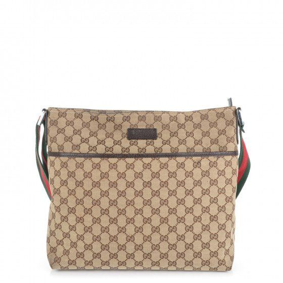 This is an authentic GUCCI Monogram Web Medium Messenger in Brown. This stylish messenger bag is crafted of brown on beige monogram canvas.