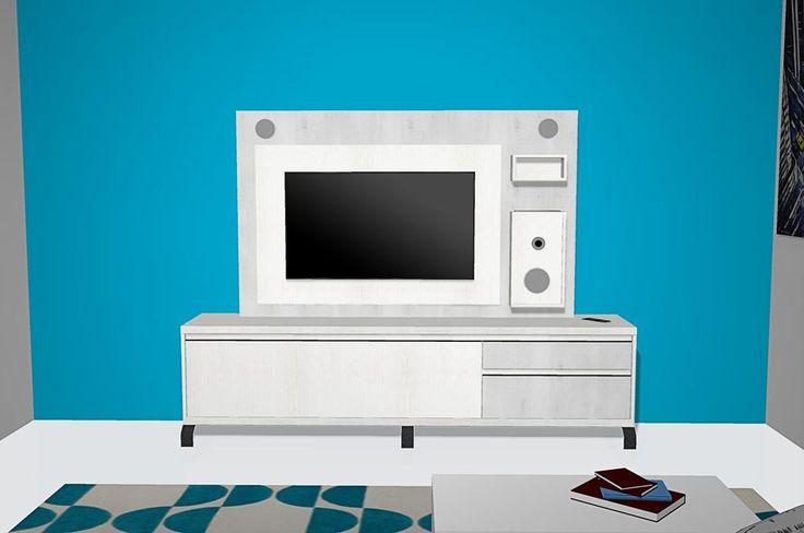 Salón con muebles del catálogo Kay con mueble y panel tv