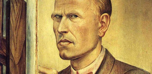 Otto Dix, Self Portrait with Easel, 1926 (detail), Leopold-Hoesch-Museum