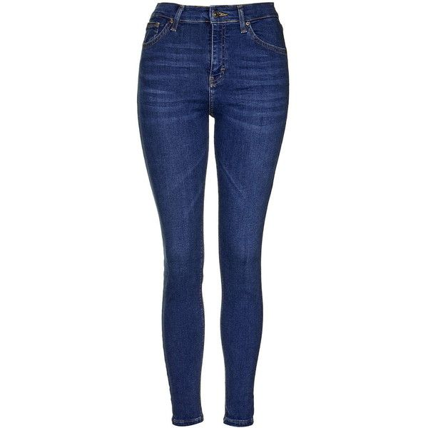 TopShop Moto Rich Indigo Jamie Jeans (81 CAD) ❤ liked on Polyvore featuring jeans, blue, topshop, highwaisted skinny jeans, highwaist jeans, high rise jeans and indigo skinny jeans