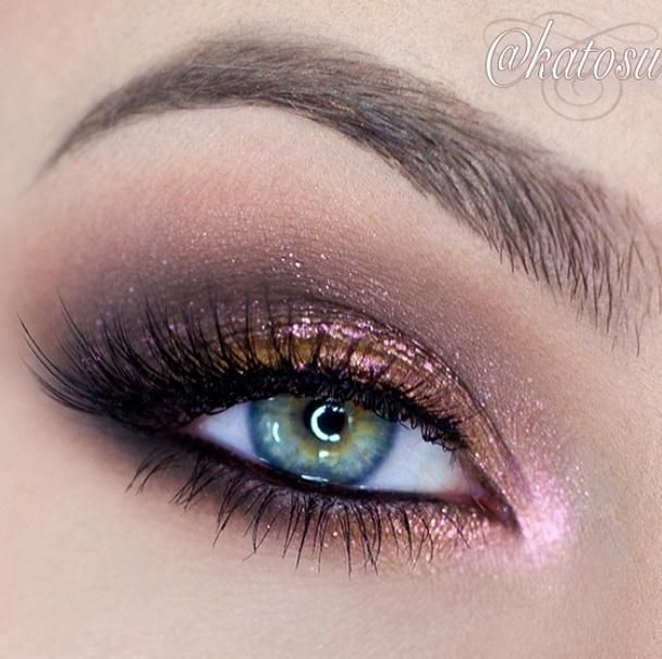 Copper and pink glitter #eye #makeup #eyes #eyeshadow #bright #dramatic #bold
