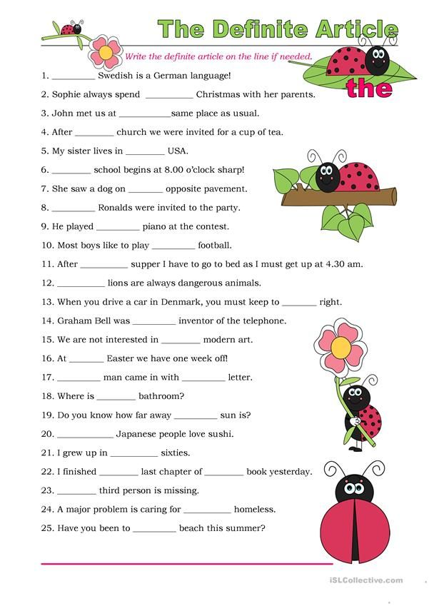 The Definite Article (Exercises) Practices Worksheets, Article Grammar,  English Worksheets For Kindergarten