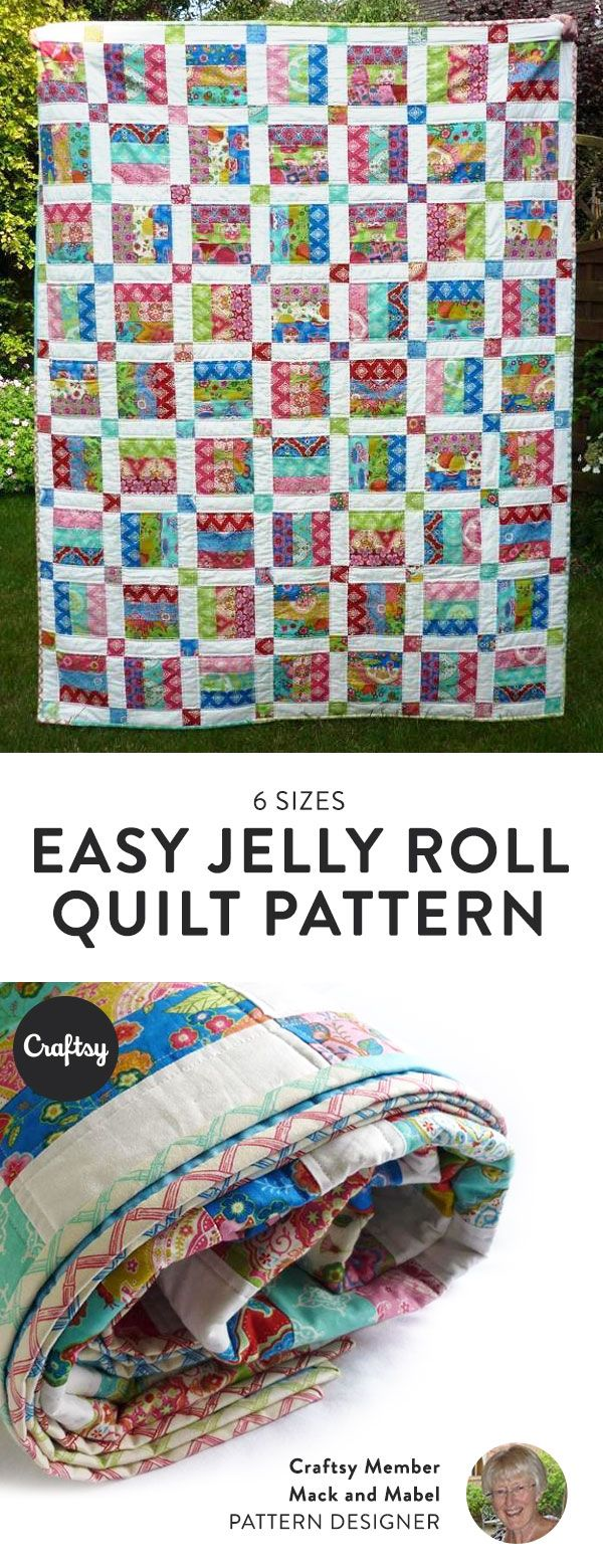 This beautiful jelly roll quilt is an easy weekend project. Perfect for all quilting levels, all you need is one or two jelly rolls and some solid white fabric.