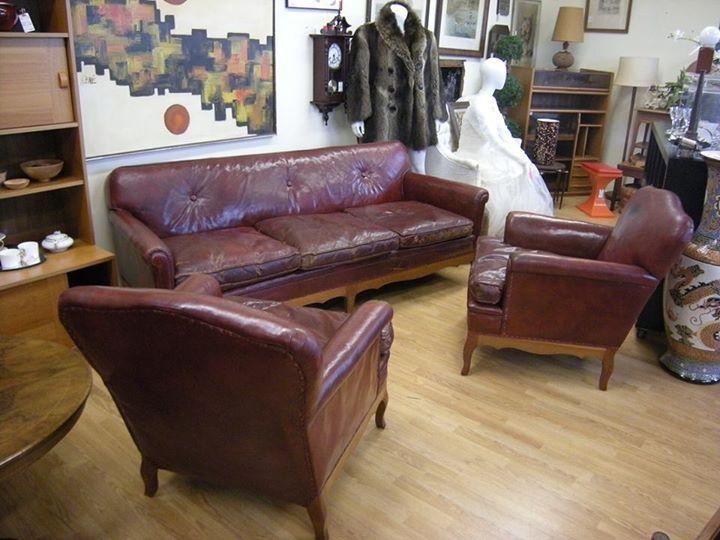 Vintage, Great Patina 3 Piece Leatehr Sofa Set