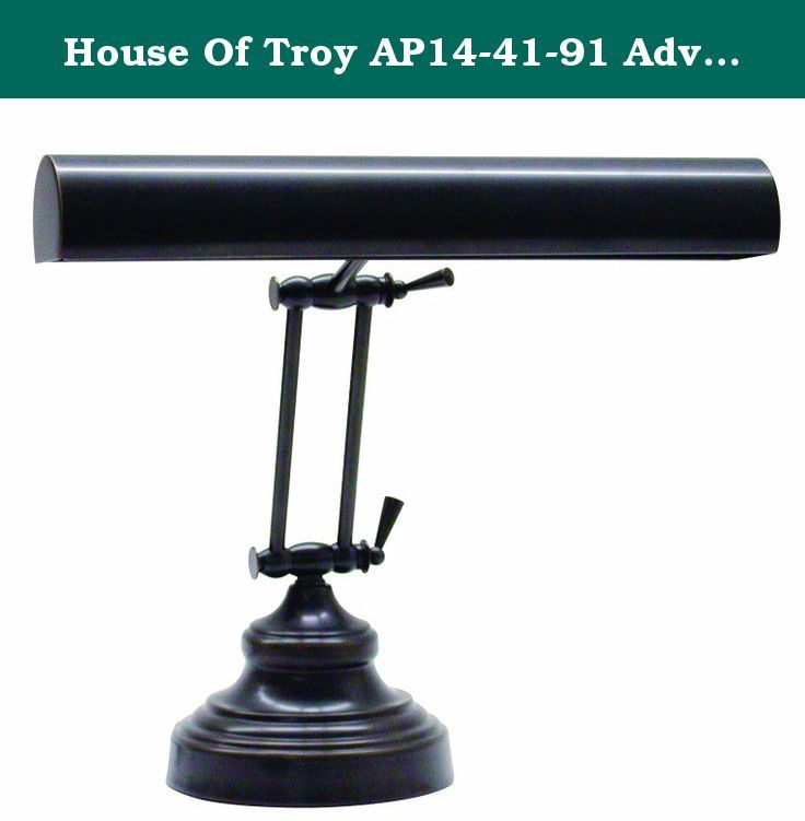 House Of Troy AP14-41-91 Advent Collection 12-Inch Adjustable Piano/Desk Portable Lamp, Oil Rubbed Bronze. An elegant piano lamp with traditional styling to enhance the beauty of your piano. Classic looks make it a great addition to work desks, shelving and more. Oil-rubbed bronze finish. Inline on/off switch. From the House of Troy piano lamp collection. - Oil-rubbed bronze finish. - Classic piano lamp design. - Inline on/off switch. - Design by House of Troy. - Takes two 40 watt tube…