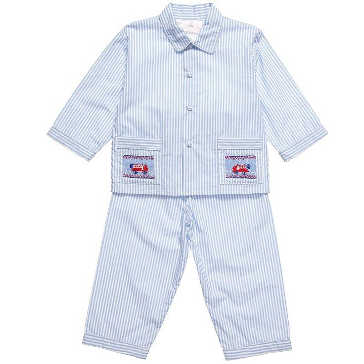 Annafie Boys Blue Hand Smocked Cotton Pyjamas at Childrensalon.com