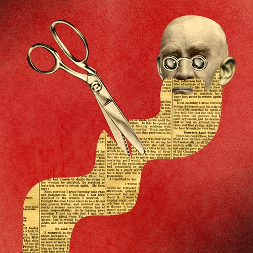 'Ghandi with Newsprint Beard', Collage Art, by David Plunkert.