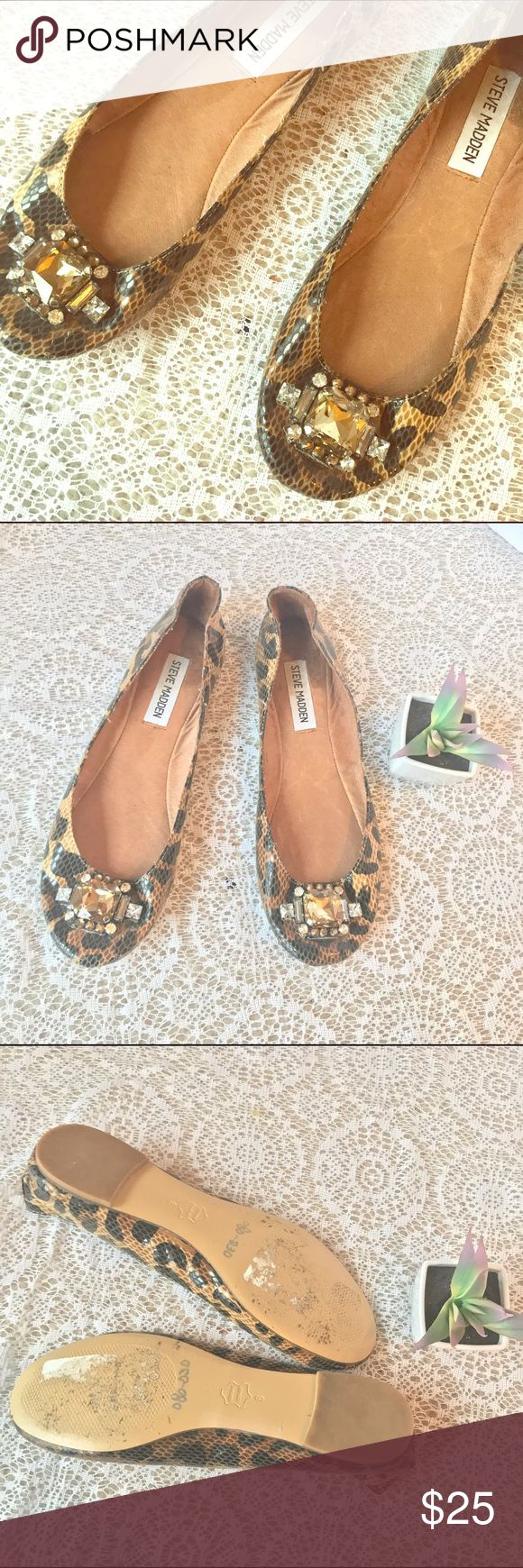"""Steve Madden Leopard Print Bejeweled Ballet Flats Steve Madden Leopard Print Bejeweled Ballet Flats """"Kobbe"""", Size 8.  Great condition, no flaws, only worn once or twice. Genuine leather sole and outsole on trend funky oversize gemstones. Steve Madden Shoes Flats & Loafers"""