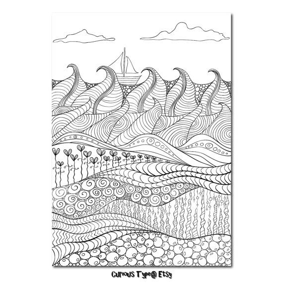 Colouring Page Zentangle Inspired Vector PDF. by CuriousType