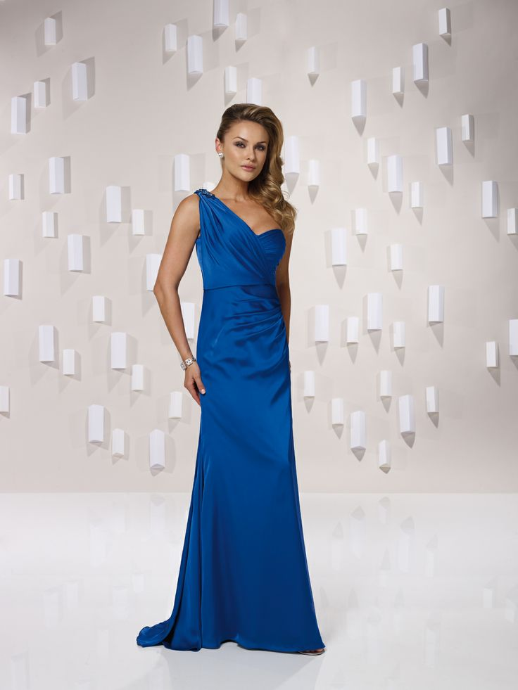 One shoulder A-line chiffon bridesmaid gown