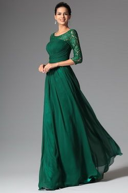 Elegant Lace Sleeves Dark Green Mother of the Bride Dress (26148204)
