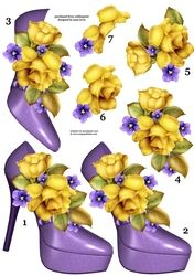 Stunning Shoes & Yellow Roses Decoupage Sheet