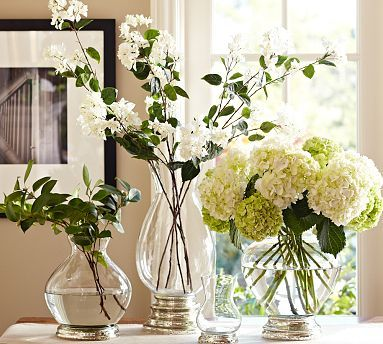 These are Mercury Glass Vases from Pottery Barn .......BUT I like the look, so I would like to DIY and paint just the bottoms of some glass bowls.