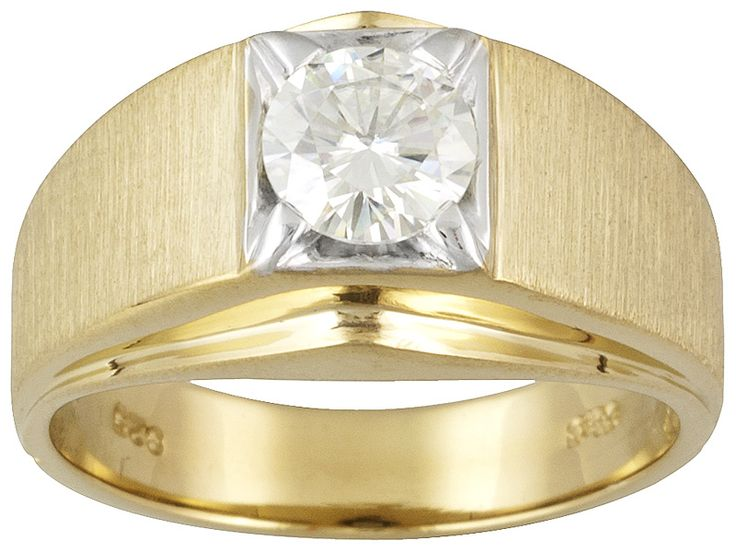 Moissanite Fire(Tm) 1.00ct Dew Round 14k Yg Over Sterling Silver Solitaire Gents Ring