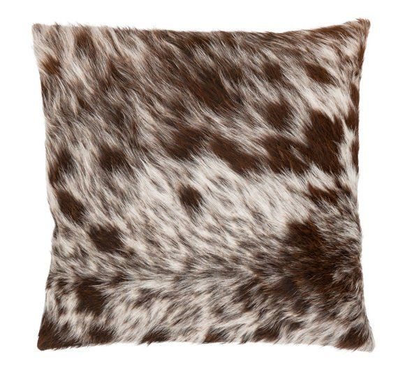 Beautiful brown speckle hide cushion with grey linen backing.