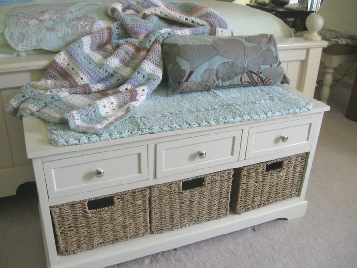 Bottom of the bed storage bench from homegoods shown with an afghan i made for our cottage - Bench at bottom of bed ...