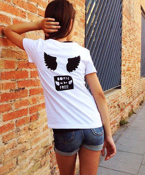 "Parche FREE. Camiseta con tu parche preferido ""Nacido para ser libre"". DIY Personaliza tu propia moda mini me en #MimetteShop"