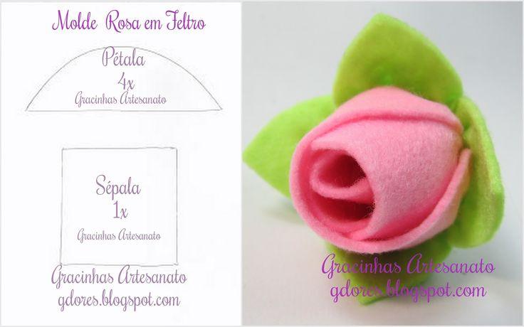 Molde Rosa de feltro fácil de fazer