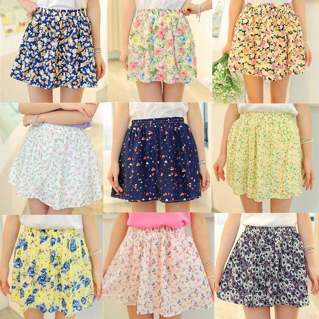 2015 новых кореянка шифоновая юбка в складку девушки юбки короткие женщины женщина юбку