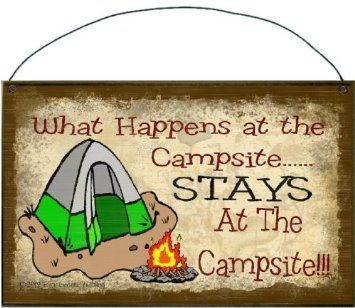 "Amazon.com: What Happens At the Campsite Stays At the Campsite Tent Camp Sign Plaque Camping Decor 5""x8"": Furniture & Decor"