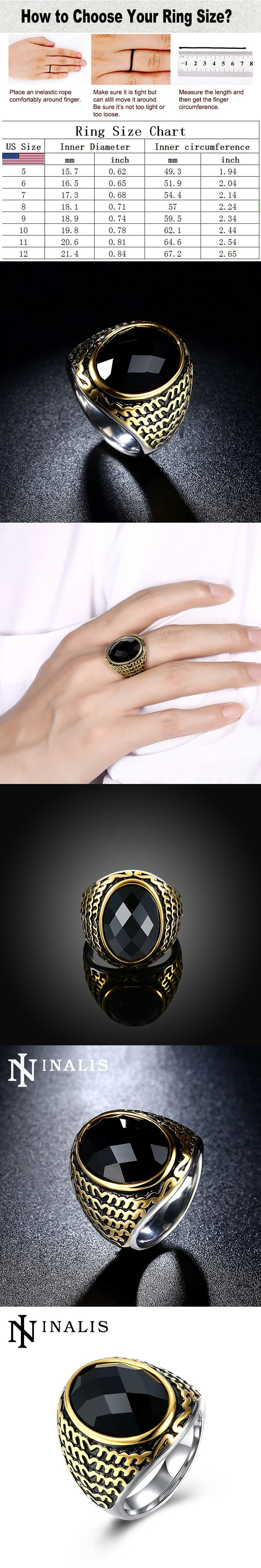 INALIS Brand Men's Signet Ring with Big Black Stone 316L Stainless Titanium Steel Islam Rings for Men Vintage Punk Biker Jewelry