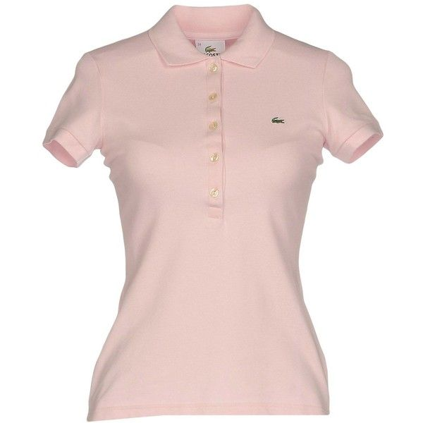Lacoste Polo Shirt ($74) ❤ liked on Polyvore featuring tops, pink, lacoste tops, logo polo shirts, short sleeve polo shirts, polo shirts and logo top