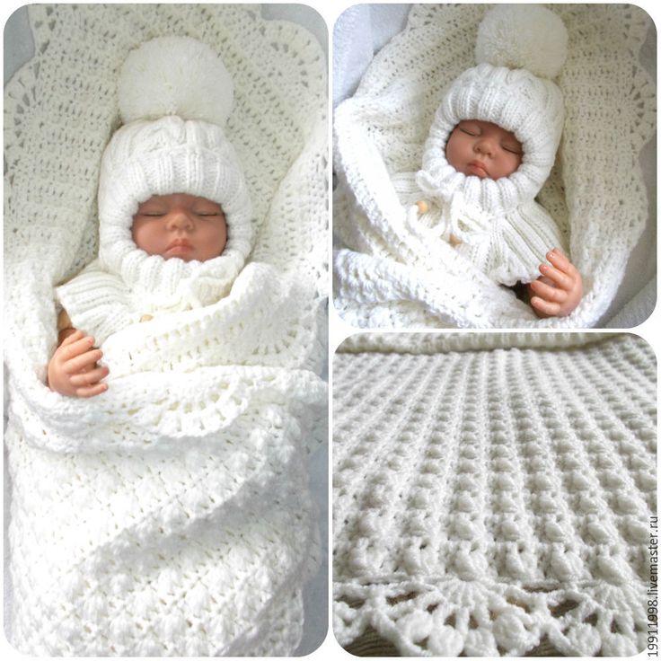 Купить Комплект для малыша 1 - белый, абстрактный, плед, плед для новорожденного, плед детский
