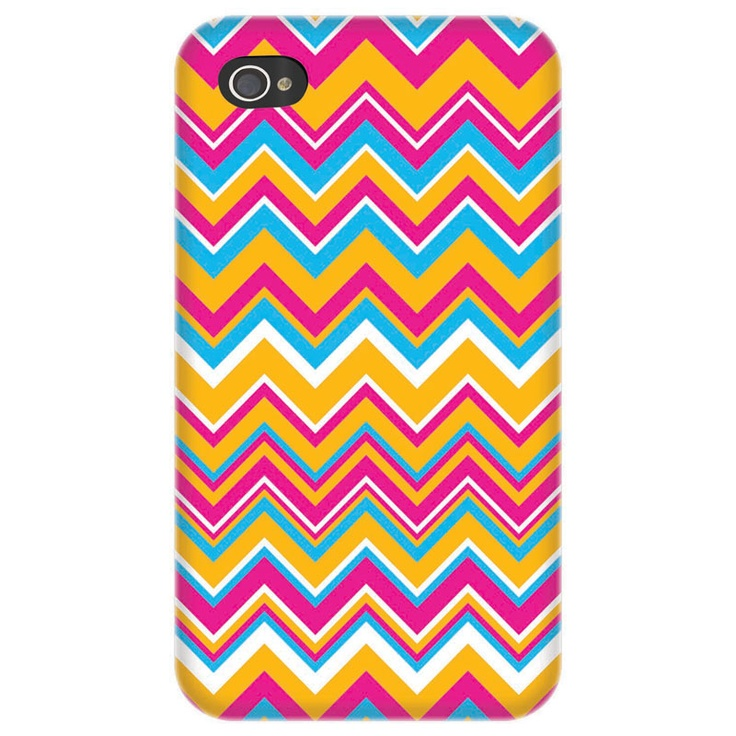 Stay in style with this fun tangerine, fuchsia, and aqua iPhone case!